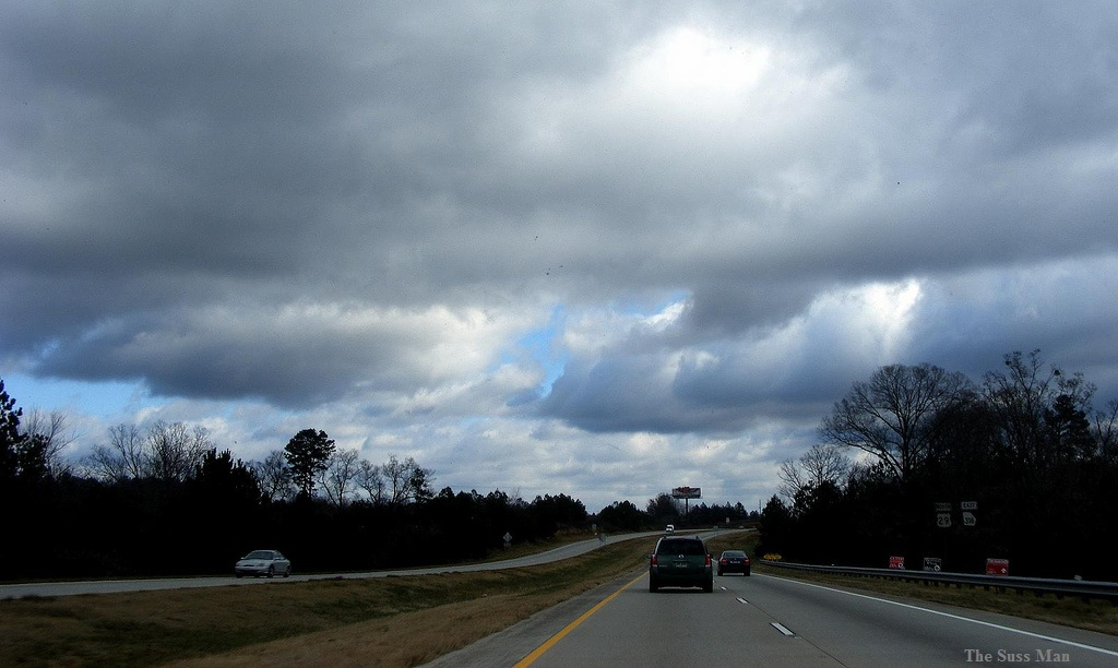 car on a highway near Winder, Georgia - overcast clouds