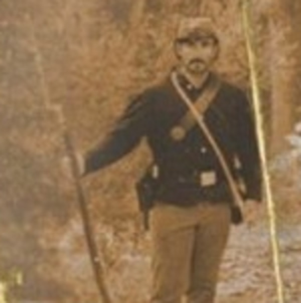 First Union Civil War soldier on the left in the main photo of six men by a dead Pteranodon-like flying creature